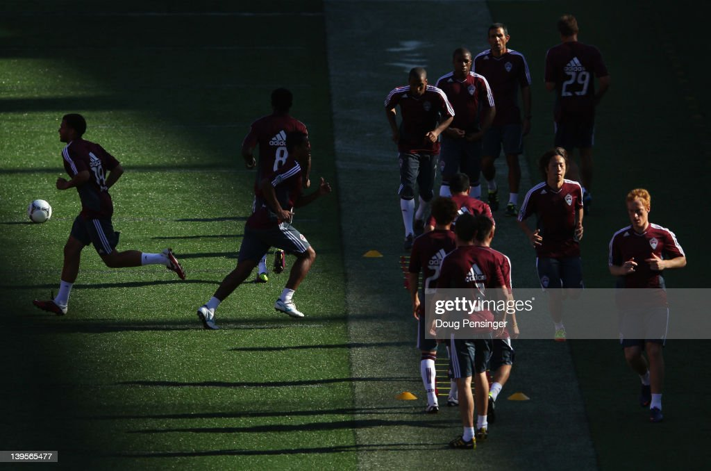 The Colorado Rapids warm up during a training session at the Aloha Stadium on February 22, 2012 in Honolulu, Hawaii. The Rapids are preparing for the Hawaiian Islands Invitational Soccer Tournament.