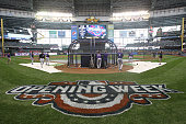 The Colorado Rockies take batting practice before the start of Opening Day against the Milwaukee Brewers on April 06 2015 in Milwaukee Wisconsin