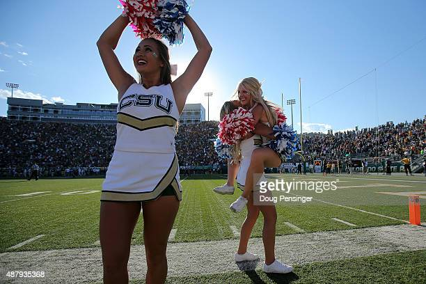 The Colorado State Rams cheerleaders celebrate as place kicker Wyatt Bryan of the Colorado State Rams kicked a field goal against the Minnesota...