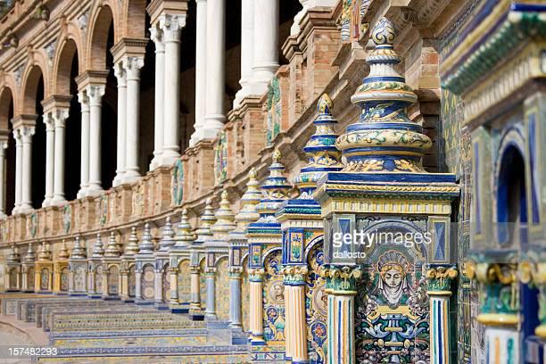 The colorful architecture of the Plaza de Espana in Sevilla