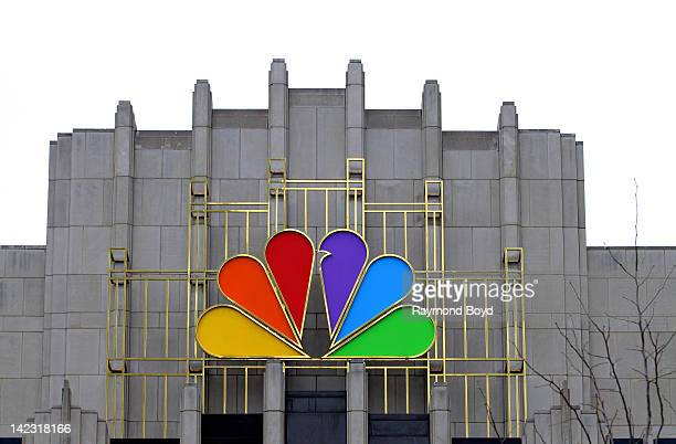 The colorful logo of NBC on the NBC Tower in Chicago Illinois on MARCH 25 2011