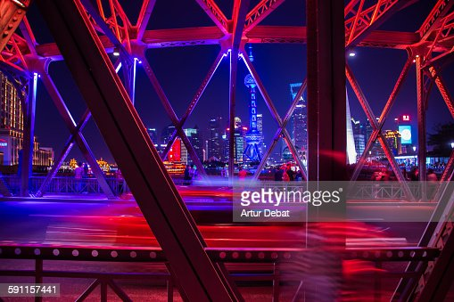 The colorful Shanghai from the Waibaidu bridge