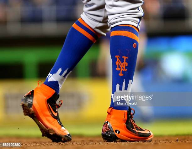 The colorful socks and shoes of the New York Mets third baseman Wilmer Flores in a game against the Miami Marlins on Sunday April 16 2017 at Marlins...