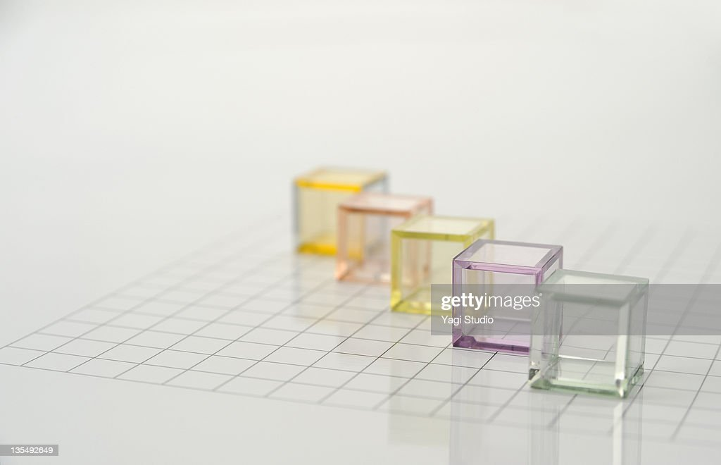 The colorful translucent cubes are arranged : Photo