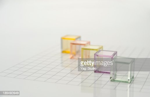 The colorful translucent cubes are arranged : Stock Photo