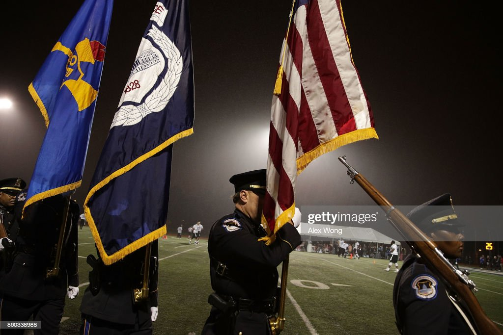 The colors are retired during pregame of 2017 Congressional Football Game October 11, 2017 at Gallaudet University in Washington, DC. Members of Congress and former NFL players team up against the U.S. Capitol Police for the biennial Congressional Football Game, which began in 2005 following the loss of Capitol Police officers John Gibson and Jacob Chestnut in the line of duty in 1998, to raise money to benefit the families of fallen police officers.