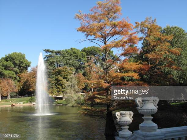 The colors of autumn pond of Crystal Palace Retiro Park Madrid Spain october 2010