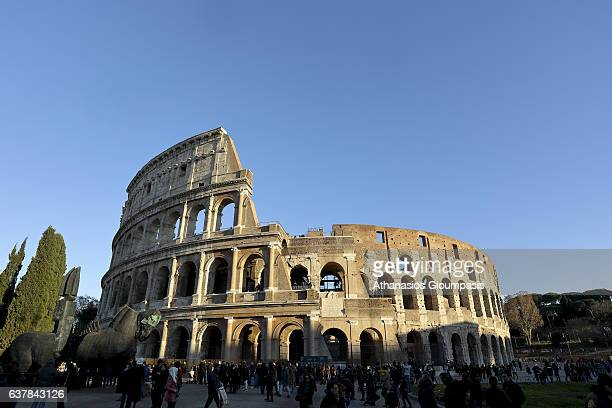The Colosseum also known as the The Flavian Amphitheatre at the sunset on December 30 2016 in Rome Italy The Colosseum or the Flavian Amphitheatre is...