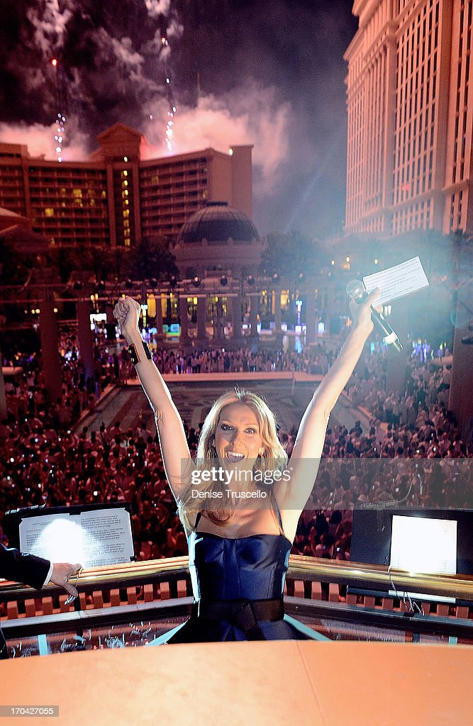 The Colosseum at Caesars Palace headliner Celine Dion during the closing night party for IPW 2013 at the Garden for the Gods pool at Caesars Palace on June 12, 2013 in Las Vegas, Nevada.