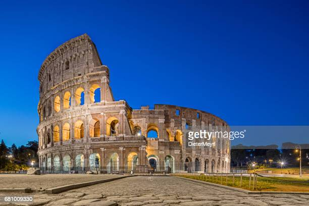 The Colosseum at dusk in Rome, Italy