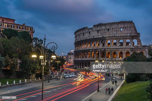 The Colosseum during the blue hour in Rome