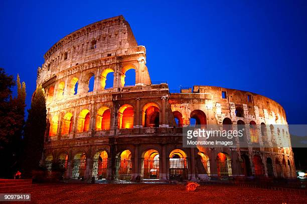 The Colosseum lit up at night in Rome