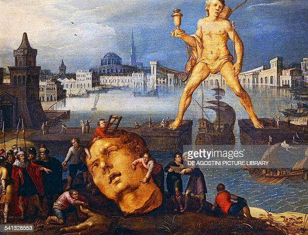 The Colossus of Rhodes by Louis de Caulery oil on wood 35x46 cm 16th17th century Paris Musée Du Louvre