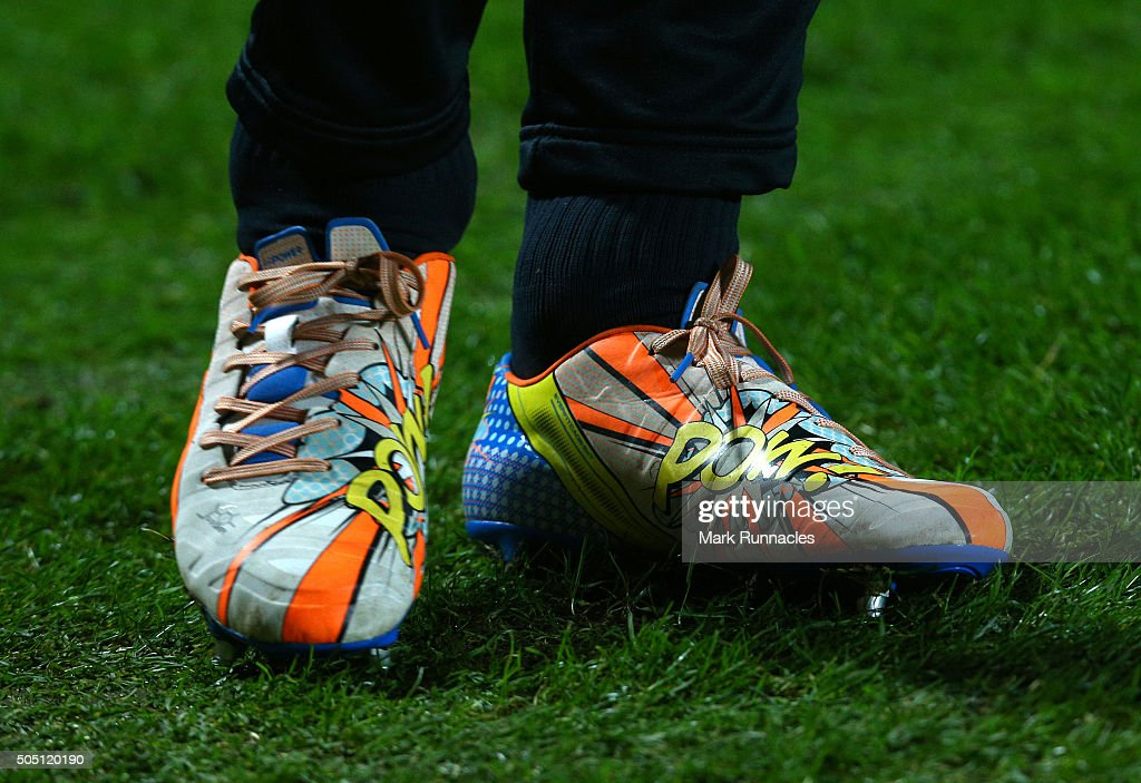 The colourful boots worn by Dundee United's Japanese Goalkeeper Eiji Kawashima as he goes through his warm up routine ahead of the Ladbrokes Scottish...