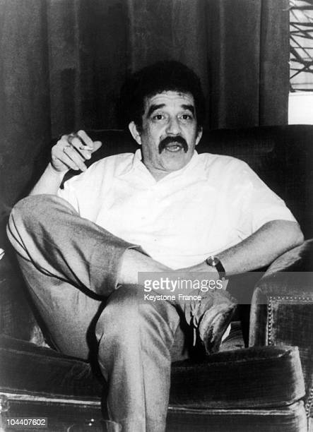 The Columbian writer Gabriel GARCIA MARQUEZ pictured in his home in Barcelona in September 1970 where he was working on his latest book THE AUTUMN OF...