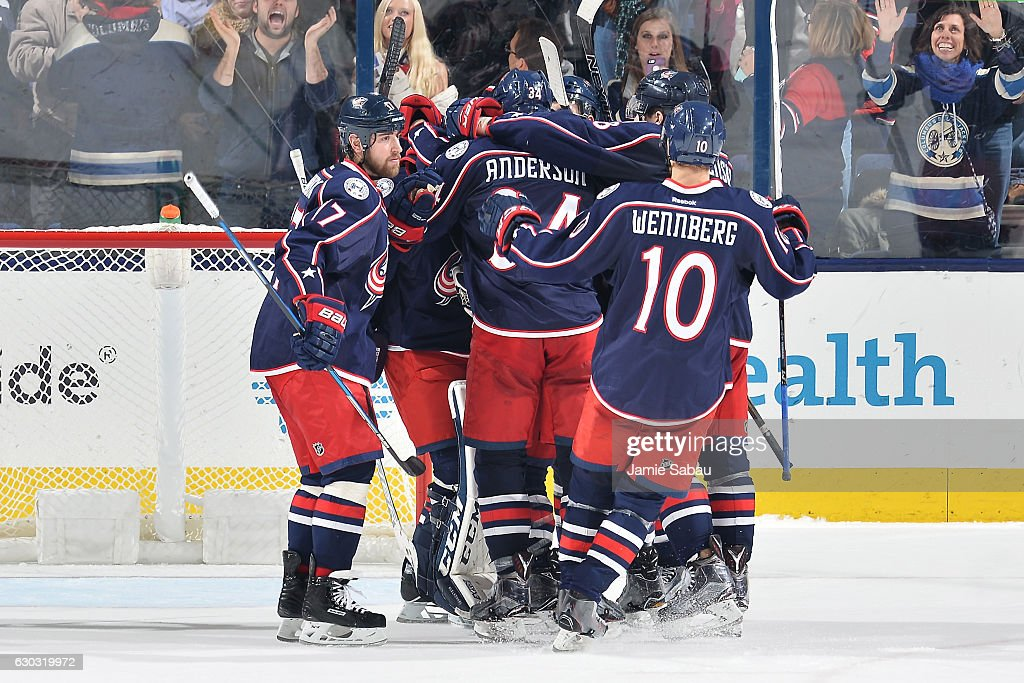 The Columbus Blue Jackets celebrate a 3-2 shootout victory over the Los Angeles Kings on December 20, 2016 at Nationwide Arena in Columbus, Ohio.