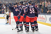 The Columbus Blue Jackets celebrate a first period goal against the Boston Bruins on November 21 2014 at Nationwide Arena in Columbus Ohio
