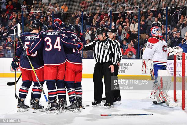 The Columbus Blue Jackets celebrate a first period goal during a game against the Montreal Canadiens on November 4 2016 at Nationwide Arena in...