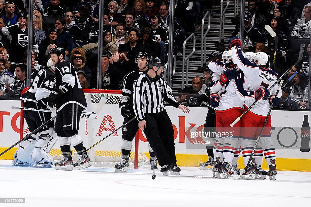 The Columbus Blue Jackets celebrate a goal against the Los Angeles Kings at Staples Center on February 15, 2013 in Los Angeles, California.