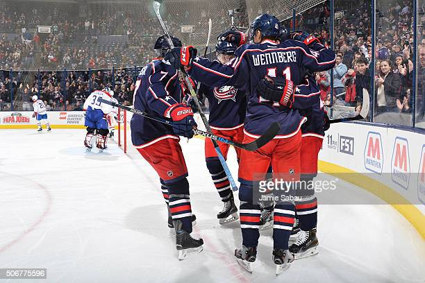 The Columbus Blue Jackets celebrate a third period goal in a game against the Montreal Canadiens on January 25 2016 at Nationwide Arena in Columbus...