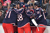 The Columbus Blue Jackets celebrate after scoring a goal during the third period of a game against the Boston Bruins on November 21 2014 at...