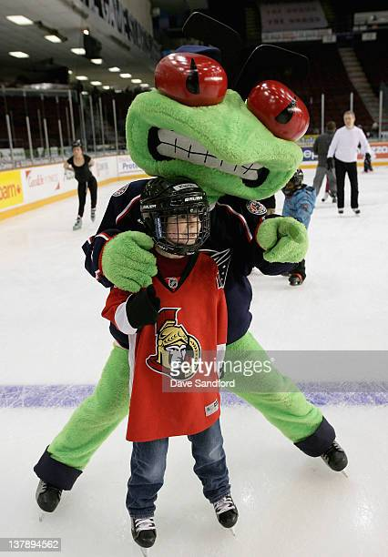 The Columbus Blue Jackets team mascot Stinger attends the Mascot Skate at the Ottawa Civic Center on January 29 2012 in Ottawa Ontario Canada