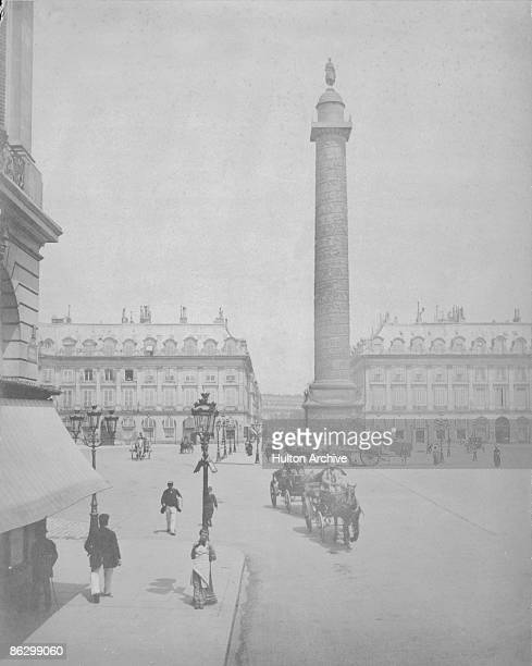 The column in the Place Vendome in Paris circa 1880 Modelled after Trajan's Column in Rome it was erected to celebrate Napoleon's victory at...