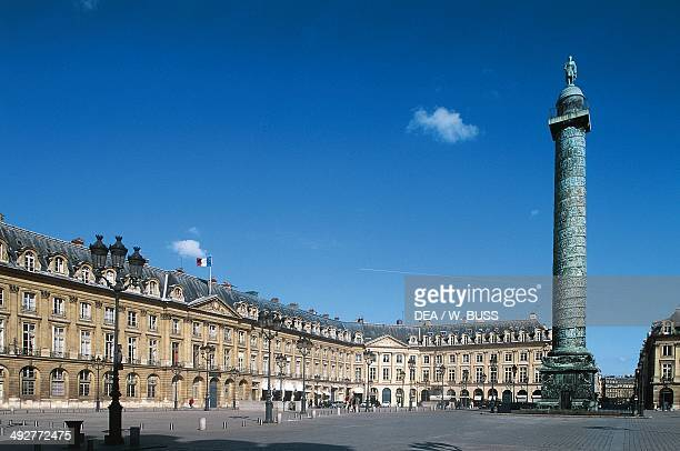 The Column of the Grande Armee which celebrates the Napoleonic army's victory in Austerlitz Place Vendome architect Jules HardouinMansart Paris...