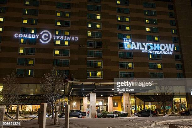 The Comedy Central and Daily Show logos projected on the side of the Radisson Hotel before Comedy Central's 'The Daily Show with Trevor Noah'...