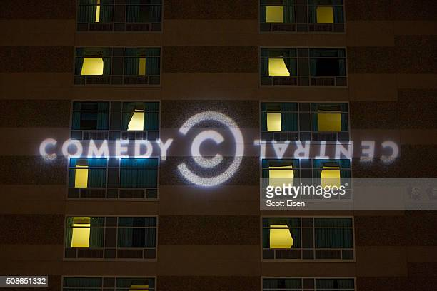 The Comedy Central logo projected on the side of the Radisson Hotel before Comedy Central's 'The Daily Show with Trevor Noah' Presents 'Podium...
