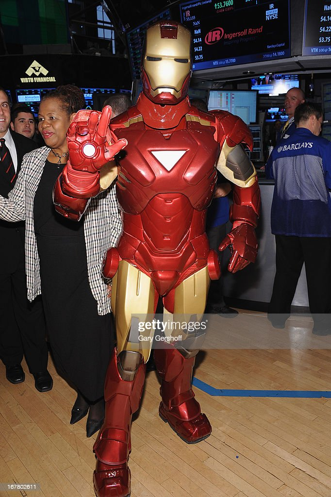 The comic book character Iron Man seen on the floor of the New York Stock Exchange after ringing the opening bell in celebration of 'Iron Man ' at the New York Stock Exchange on April 30, 2013 in New York City.