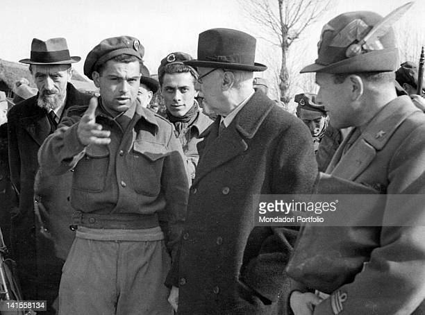 The commander and partisan Arrigo Boldrini speaking about the situation on the front with the Italian Prime Minister Ivanoe Bonomi and with the...