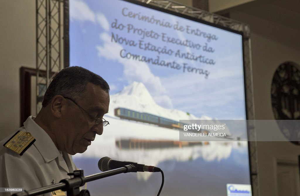 The commander of the Brazilian Navy, admiral Julio Soares de Moura Neto, speaks during the presentation of the project for the new base in Antarctica, in Rio de Janeiro, on October 10, 2013. Work on rebuilding the Brazilian Antarctic 'Comandante Ferraz' base, which was destroyed almost completely on February 25, 2012 by a fire that left two military personnel dead, is scheduled to begin soon and is expected to be inaugurated on March 2015.