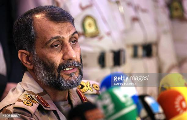 The commander of the Iranian border guards Qassim Rezai speaks during a press conference with his Iraqi counterpart Musatafa Abdulkarim after signing...