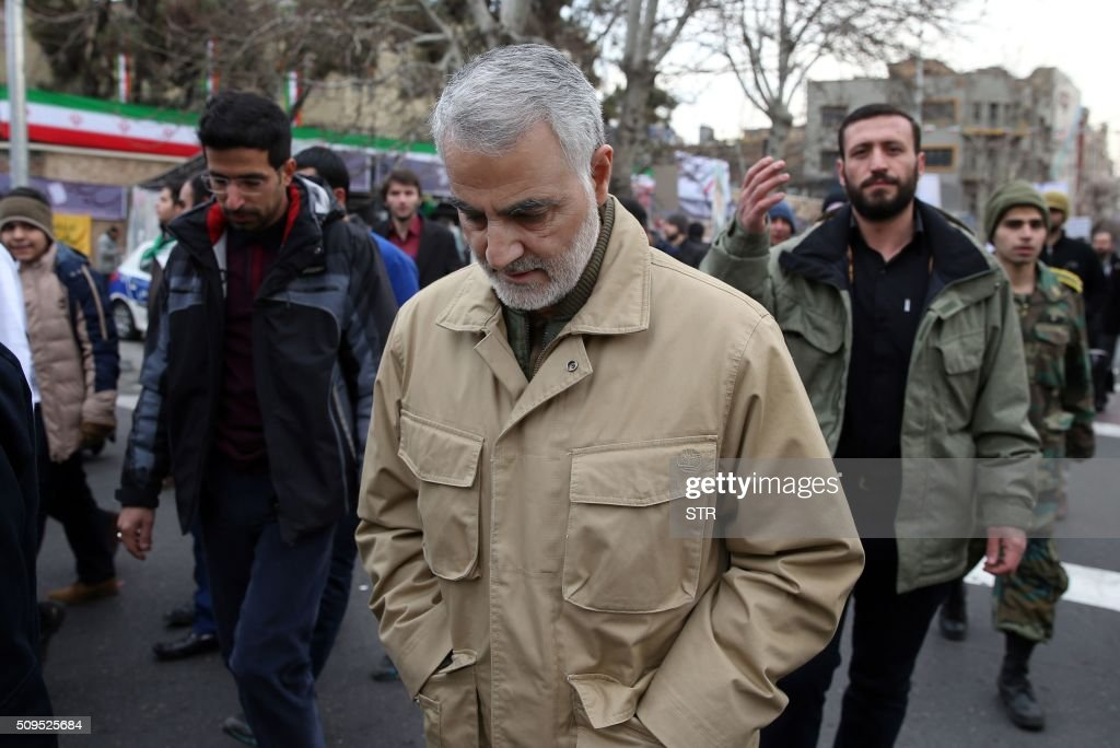 The commander of the Iranian Revolutionary Guard's Quds Force, General Qassem Suleimani, attends celebrations marking the 37th anniversary of the Islamic revolution on February 11, 2016 in Tehran. Iranians waved 'Death to America' banners and took selfies with a ballistic missile as they marked 37 years since the Islamic revolution, weeks after Iran finalised a nuclear deal with world powers. / AFP / STR