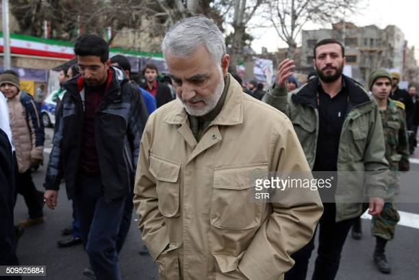 The commander of the Iranian Revolutionary Guard's Quds Force General Qassem Suleimani attends celebrations marking the 37th anniversary of the...