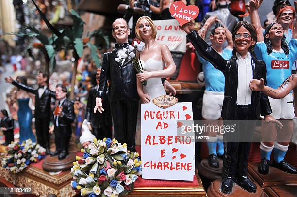 The commemorative figurines depicting the royal marriage of Prince Albert and Charlene Wittstock by the artisan Genny Di Virgilio at San Gregorio...