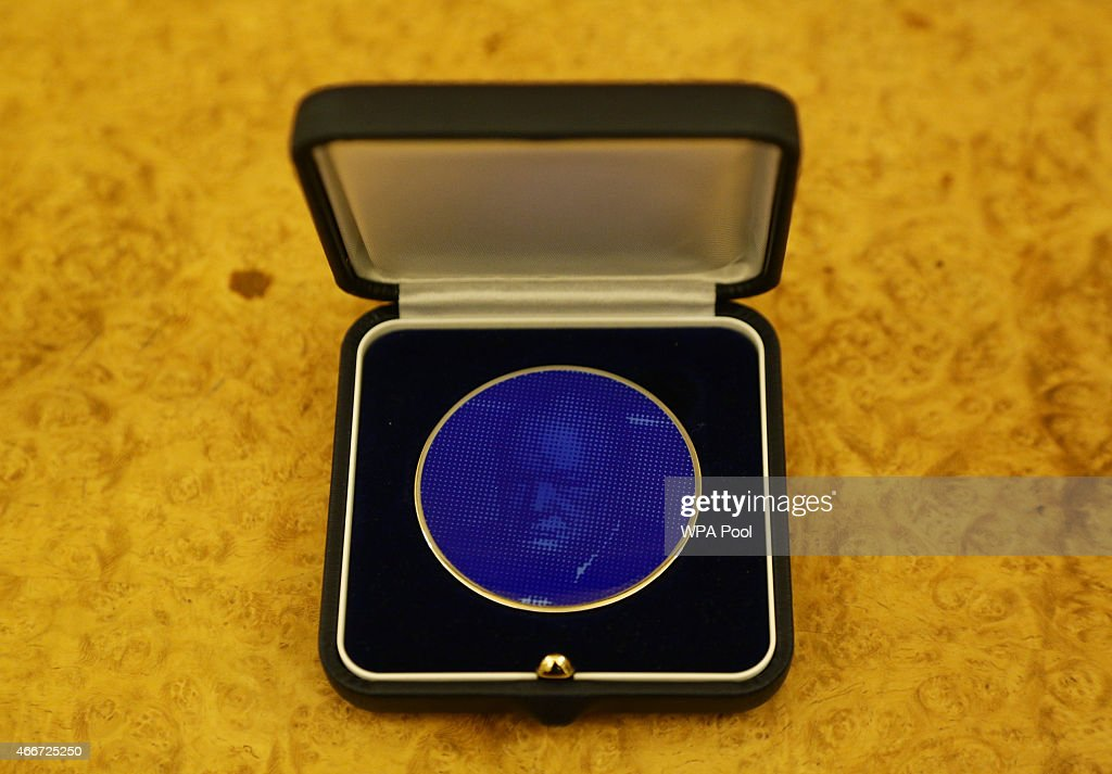 The commemorative Winston Churchill Medallion, by designer Brian Clarke, which was presented to Queen Elizabeth II during the Winston Churchill Memorial Trust Reception at Buckingham Palace on March 18, 2015 in London, England.