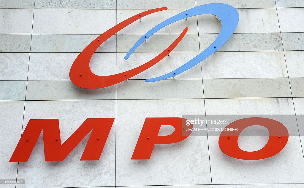 The commercial sign of the MPO International company is pictured on the facade of the plant in Villaines-la-Juhel, western France, on January 7, 2013. AFP PHOTO/JEAN-FRANCOIS MONIER.