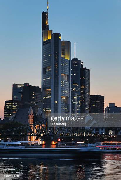 The Commerzbank AG headquarters center stand above the Main river in Frankfurt Germany on Wednesday Aug 4 2010 Commerzbank AG Germany's secondbiggest...