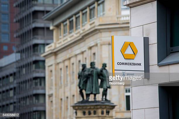 The Commerzbank AG logo sits on a sign outside a bank branch in Frankfurt Germany on Monday July 4 2016 The British seat at the European Union summit...