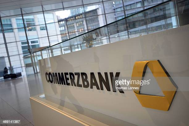 The Commerzbank Logo pictured at the heatquards of the Commerzbank AG on February 13 2014 in Frankfurt am Main Germany In the 2013 business year...