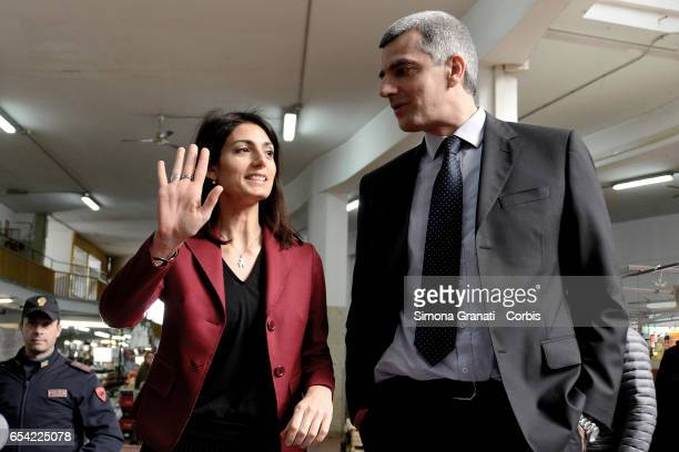 The commissioner for trade and tourism Adriano Meloni and the mayor of Rome Virginia Raggi during the press conference at the Via Magnagrecia Market...