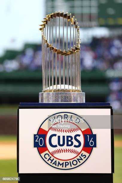 The Commissioner'sTrophy is seen during the World Series ring ceremony ahead of the game between the Los Angeles Dodgers and the Chicago Cubs at...