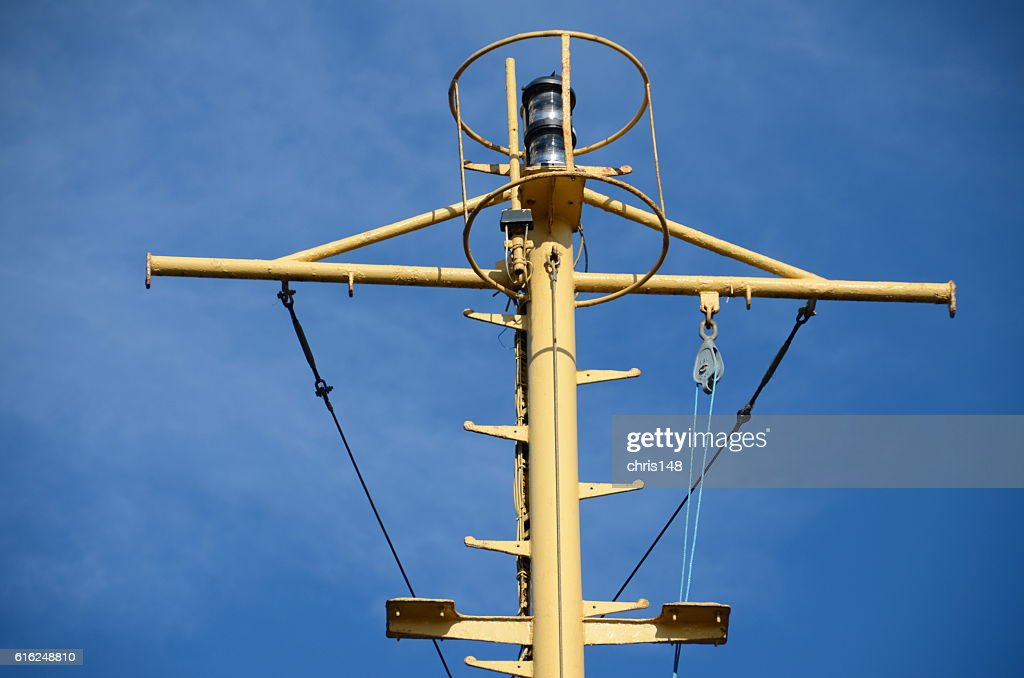 The communications mast of a ferry : Stock Photo