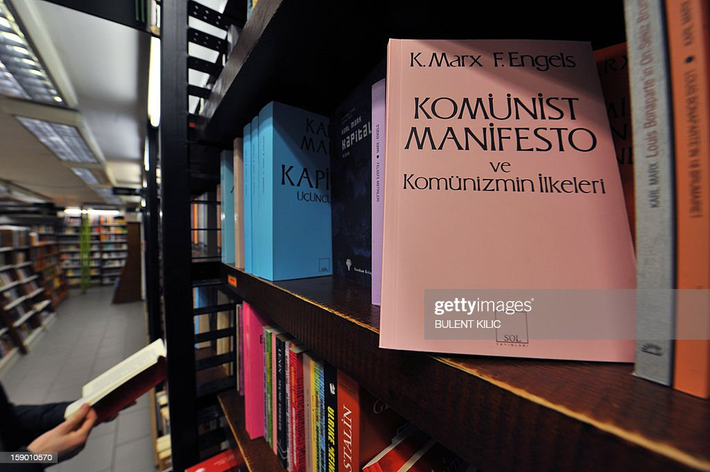 The Communist Manifesto, a publication written by the political theorists Karl Marx and Friedrich Engels is pictured in a bookstore on January 5, 2013, in Istanbul. Thousands of books banned for the past few years returned to the shelves in Turkey, on January 5, 2013.
