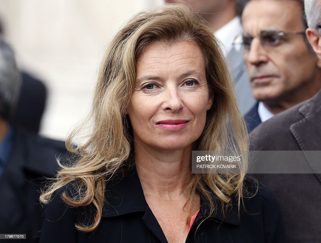 The companion of the French president Valerie Trierweiler attends a gathering calling for the release of French journalists Didier Francois and...