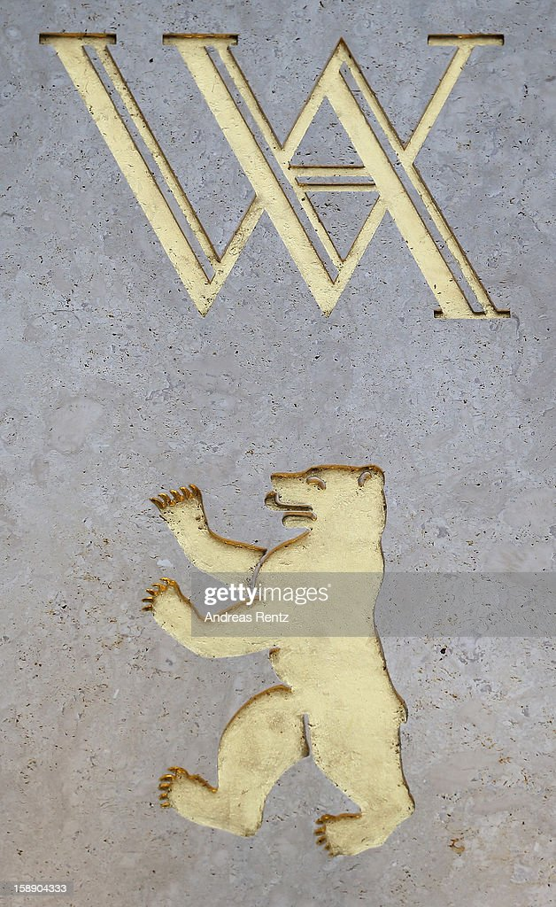 The company emblem is pictured during the opening of Germany's first Waldorf Astoria hotel on January 3, 2013 in Berlin, Germany. The luxury Waldorf Astoria Berlin with its 232 luxury guest rooms and suites on 32 storeys is located near the Kaiser Wilhelm Memorial Church (Kaiser-Wilhelm-Gedächtniskirche).