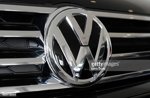 The company logo is seen on the front of the Volkswagen AG Touareg at a Volkswagan AG retail outlet on October 20 2015 in Madrid Spain Spain's public...