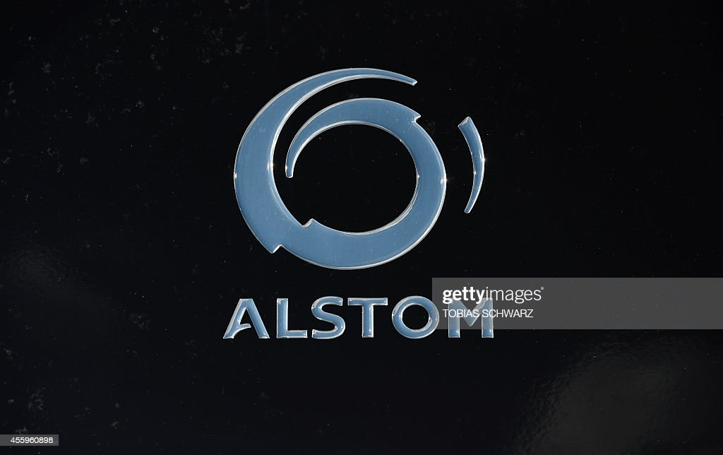 The company logo of French engineering firm Alstom is pictured during the opening day of the Innotrans International Trade Fair for Transport and...